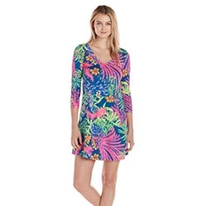 Lilly Pulitzer Erin Colorful T-Shirt V-Neck Dress